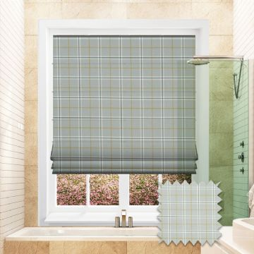 Blue Roman blind in Checkered Patterned Edmund Chartreuse fabric